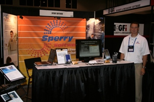 Jim standing at our booth