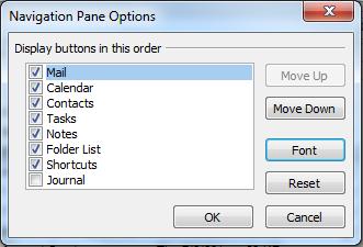 Image of how to change the font in the navigation panel in Outlook