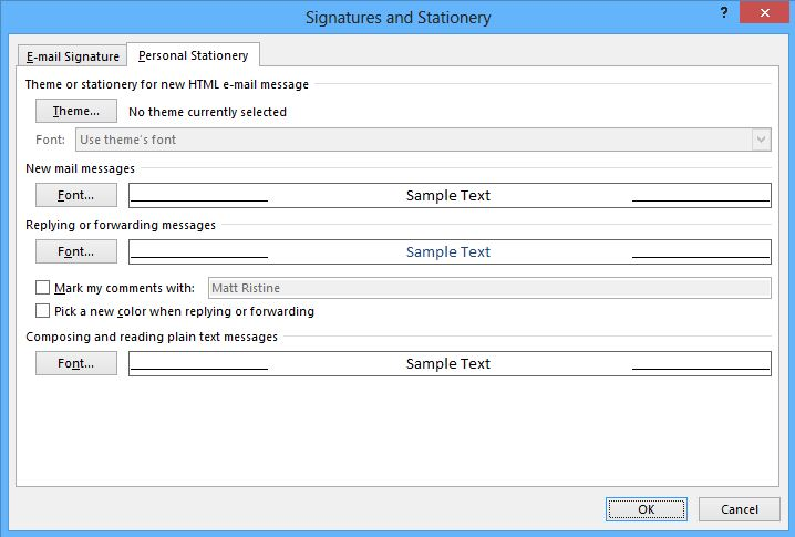 Image of how to modify signatures and stationery in Outlook