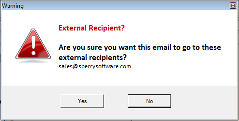 Example warning when sending emails outside the company.