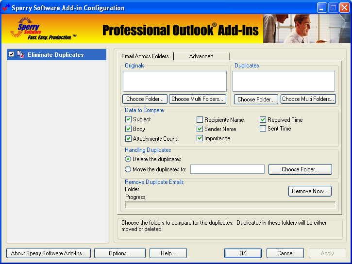 Duplicate Email Eliminator Across Folders for Outlook 2000, 2002, 2003 4.0.4050.20832 full