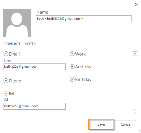 How to add contacts from email in Outlook