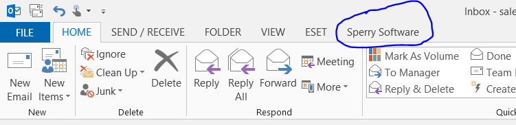 Sperry Software in Outlook 2013 toolbar