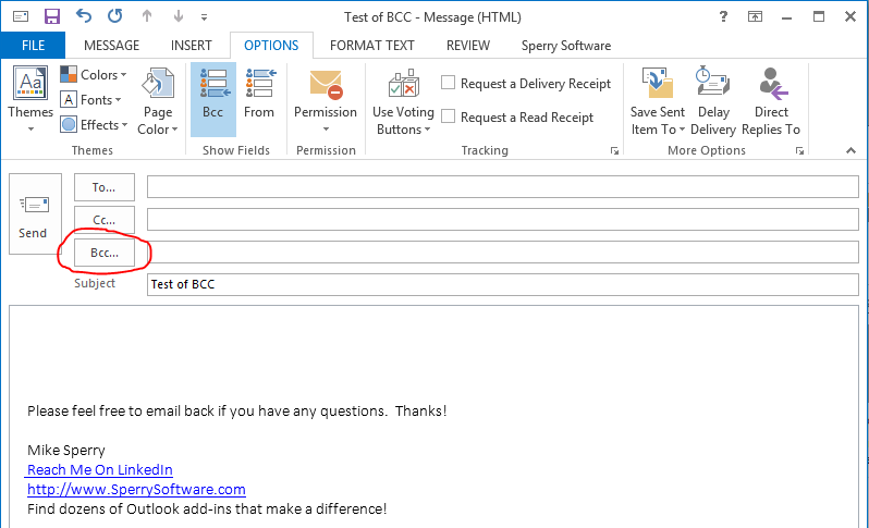 How to add a BCC in Outlook Emails - Sperry Software