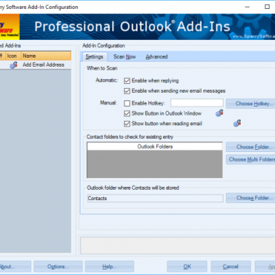 Automatically add contacts configuration window