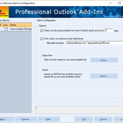 Autocomplete Manager Configuration screenshot