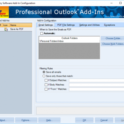 Save As PDF settings screenshot