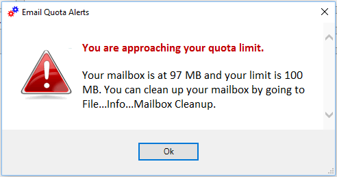 email quota warning alert image