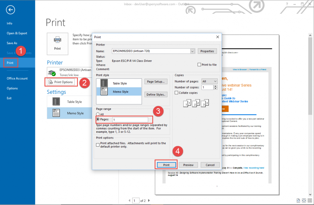 Printing just the first page of an outlook email