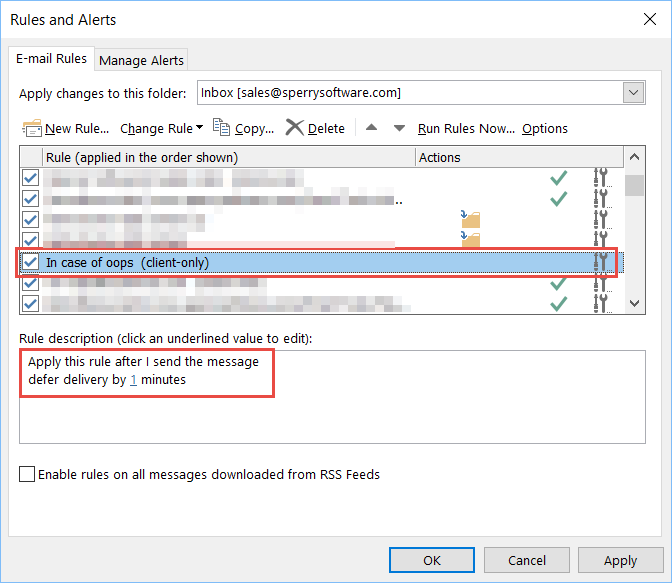 Image of defer delivery by one minute Outlook rule