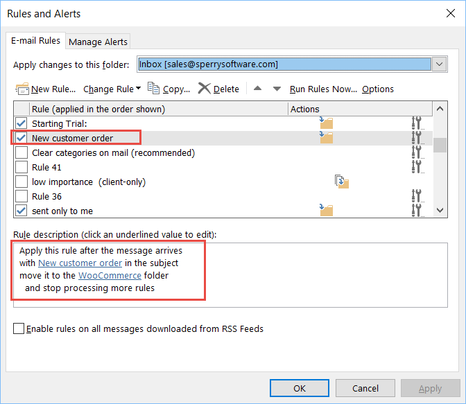 Image of creating a new rule in Outlook
