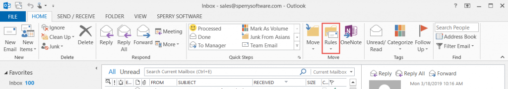 Image of Rules and Alerts toolbar button in Outlook