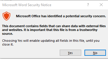 Image of Microsoft Word Security Notice