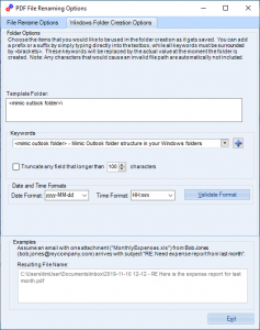 Image of how to create folders as the emails PDFs are created