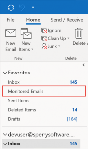 Image of Outlook Favorites Folder