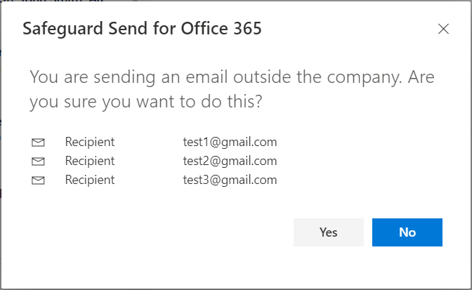 Warning prompt with email addresses shown