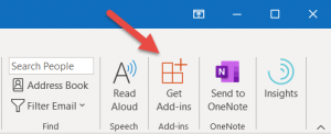 Outlook Get Add-ins button close up