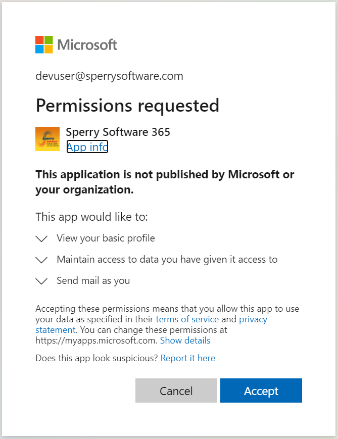 Image of Permissions Required from Office 365