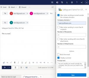 Safeguard Send for Office 365 Taskpane