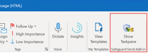 Image of Safeguard Send toolbar button in desktop Outlook